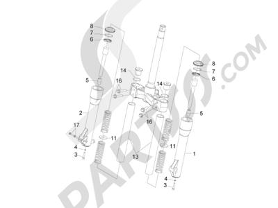 Piaggio Carnaby 300 4T ie Cruiser 2009-2011 Componentes de la horquilla (Kayaba)