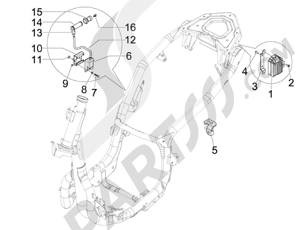 Piaggio Carnaby 300 4T ie Cruiser 2009-2011 Reguladores de tensión - Centralitas electrónicas - Bobina A.T.