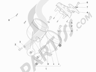 Piaggio Carnaby 300 4T ie Cruiser 2009-2011 Tablero de instrumentos - Cruscotto