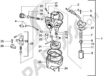 Piaggio Diesis 100 1998-2005 Carburador