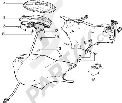 Piaggio Diesis 100 1998-2005 Piezas que componen el manillar-Instrumentacion