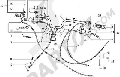 Piaggio Diesis 100 1998-2005 Piezas que componen el manillar-Transmisiones