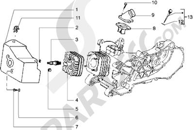 Piaggio Diesis 50 1998-2005 Culata-deflector y racor de admision