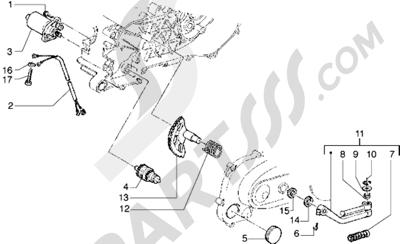 Piaggio Diesis 50 1998-2005 Motor de arranque-Palanca de arranque