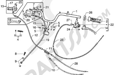 Piaggio Diesis 50 1998-2005 Piezas que componen el manillar-Transmisiones