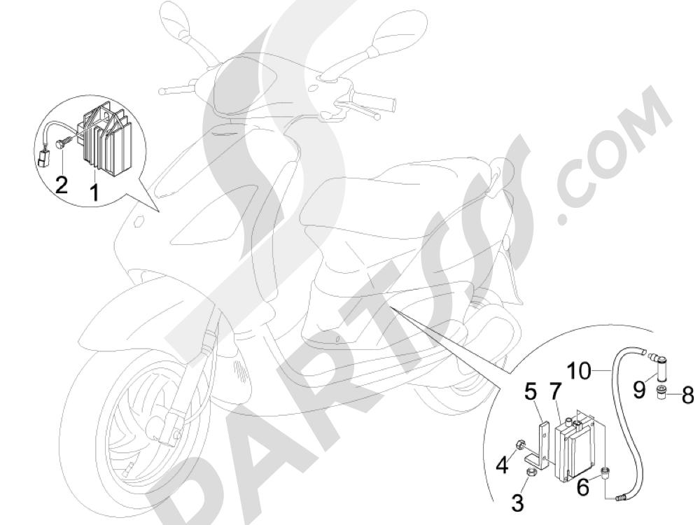 Piaggio Fly 100 4T 2008 Reguladores de tensión - Centralitas electrónicas - Bobina A.T.