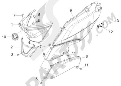 Piaggio Fly 125 4T 1998-2005 Protecciones laterales