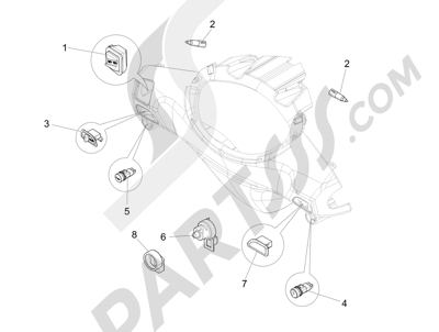 Piaggio Fly 125 4T/3V ie (Vietnam) 2014 Conmutadores - Conmutadores - Pulsadores - Interruptores