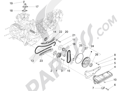 Piaggio Fly 125 4T/3V ie E3 DT 2013 - 2015 Bomba de aceite
