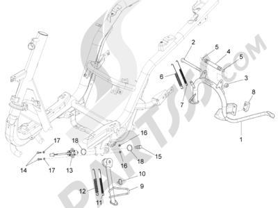 Piaggio Fly 125 4T/3V ie E3 DT 2013 - 2015 Caballete s