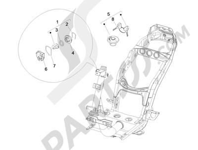 Piaggio Fly 125 4T/3V ie E3 DT 2013 - 2015 Cerraduras