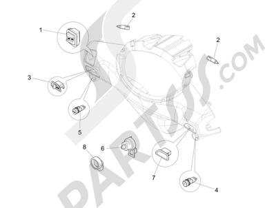 Piaggio Fly 125 4T/3V ie E3 DT 2013 - 2015 Conmutadores - Conmutadores - Pulsadores - Interruptores