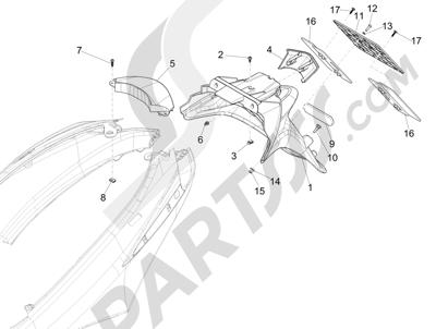Piaggio Fly 125 4T/3V ie E3 DT 2013 - 2015 Cubierta trasera - Salpicador
