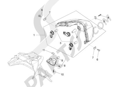 Piaggio Fly 125 4T/3V ie E3 DT 2013 - 2015 Faros traseros - Indicadores de dirección