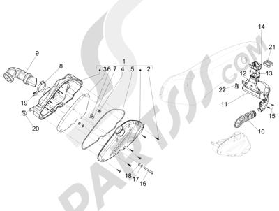 Piaggio Fly 125 4T/3V ie E3 DT 2013 - 2015 Filtro de aire