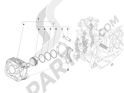 Piaggio Fly 125 4T/3V ie E3 DT 2013 - 2015 Grupo cilindro-pistón-eje