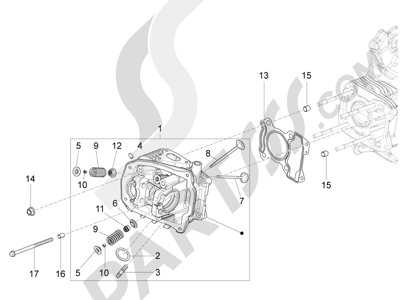Piaggio Fly 125 4T/3V ie E3 DT 2013 - 2015 Grupo culata - Valvula