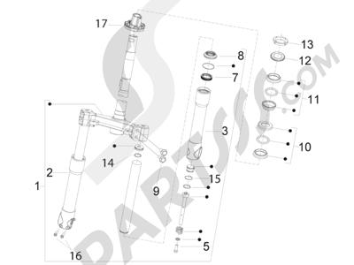 Piaggio Fly 125 4T/3V ie E3 DT 2013 - 2015 Horquilla Tubo direccion - Conjunto tejuelos