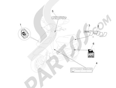 Piaggio Fly 125 4T/3V ie E3 DT 2013 - 2015 Letreros - Escudos