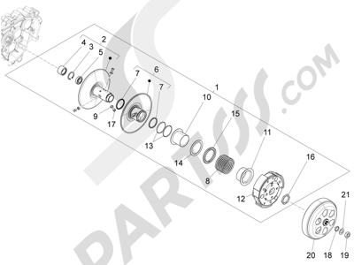 Piaggio Fly 125 4T/3V ie E3 DT 2013 - 2015 Polea conducida