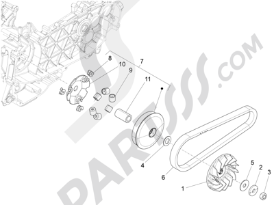 Piaggio Fly 125 4T/3V ie E3 DT 2013 - 2015 Polea conductora