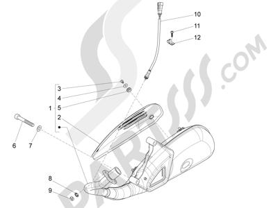 Piaggio Fly 125 4T/3V ie E3 DT 2013 - 2015 Silenciador