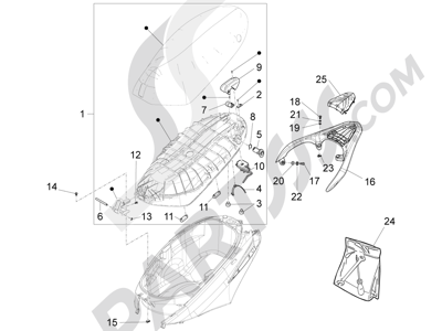 Piaggio Fly 125 4T/3V ie E3 DT 2013 - 2015 Sillín asientos