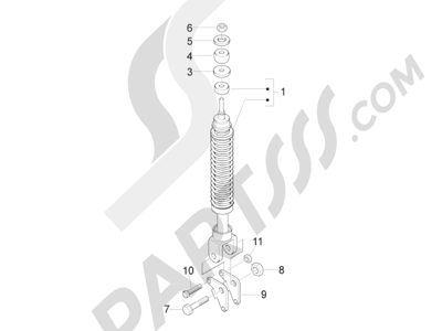 Piaggio Fly 125 4T/3V ie E3 DT 2013 - 2015 Suspensión trasera - Amortiguador es