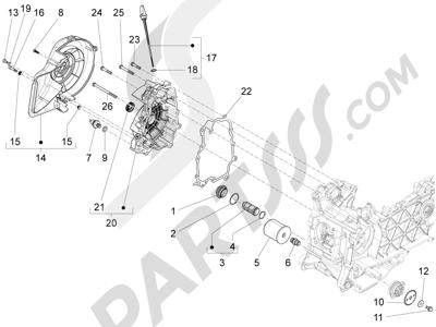 Piaggio Fly 125 4T/3V ie E3 DT 2013 - 2015 Tapa volante magnetico - Filtro de aceite