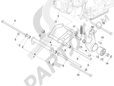 Piaggio Fly 125 4T/3V ie E3 LEM 2012-2013 Brazo oscilante