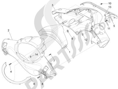 Piaggio Fly 125 4T/3V ie E3 LEM 2012-2013 Coberturas manillar