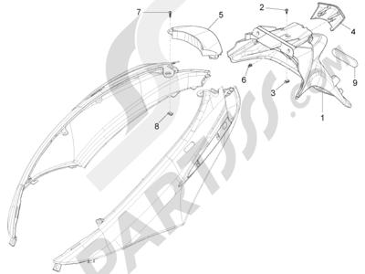 Piaggio Fly 125 4T/3V ie E3 LEM 2012-2013 Cubierta trasera - Salpicador