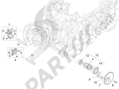 Piaggio Fly 125 4T/3V ie E3 LEM 2012-2013 Grupo soporte balancines