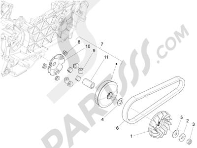 Piaggio Fly 125 4T/3V ie E3 LEM 2012-2013 Polea conductora