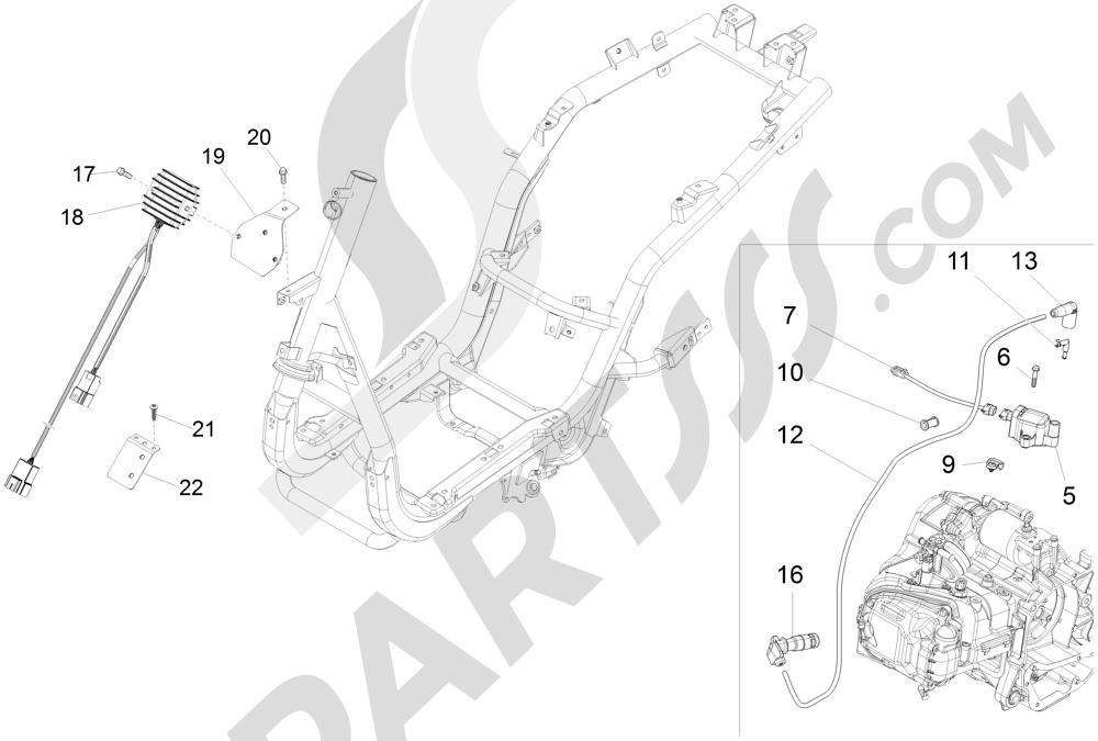 Piaggio Fly 125 4T/3V ie E3 LEM 2012-2013 Reguladores de tensión - Centralitas electrónicas - Bobina A.T.