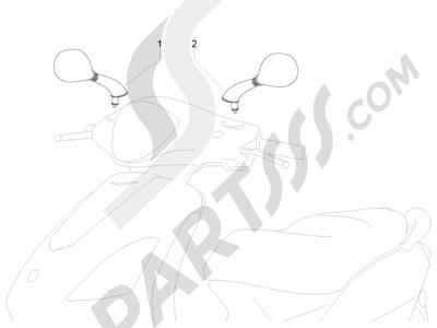Piaggio Fly 125 4T/3V ie E3 LEM 2012-2013 Retrovisor es