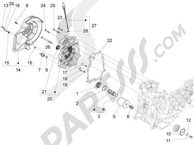 Piaggio Fly 125 4T/3V ie E3 LEM 2012-2013 Tapa volante magnetico - Filtro de aceite