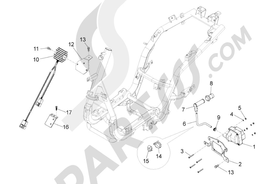 Piaggio Fly 125 4T E3 (Vietnam) 2012 Reguladores de tensión - Centralitas electrónicas - Bobina A.T.