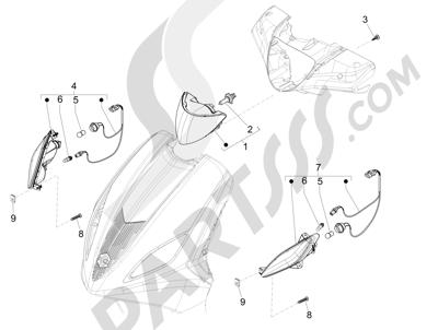 Piaggio Fly 150 4T 3V ie (AUSTRALIA) 2015 Faros delanteros - Indicadores de dirección