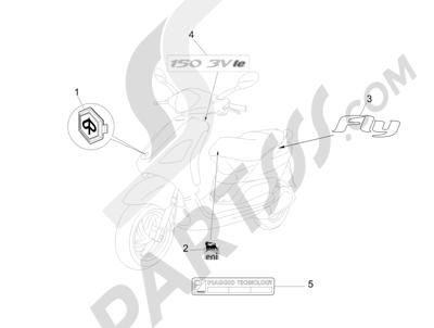 Piaggio Fly 150 4T 3V ie (AUSTRALIA) 2015 Letreros - Escudos
