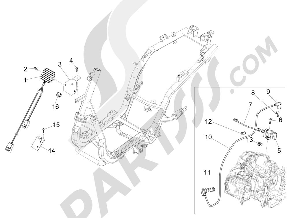 Piaggio Fly 150 4T 3V ie (AUSTRALIA) 2015 Reguladores de tensión - Centralitas electrónicas - Bobina A.T.