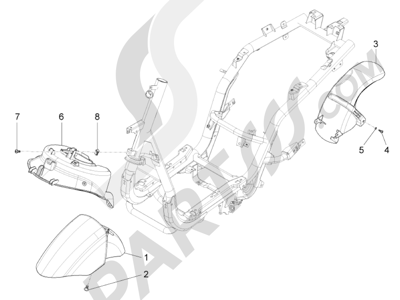 Piaggio Fly 150 4T 3V ie (USA) 2013-2015 Alojamiento rueda - Guardabarros
