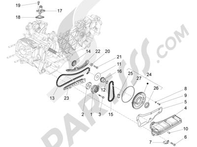 Piaggio Fly 150 4T 3V ie (USA) 2013-2015 Bomba de aceite