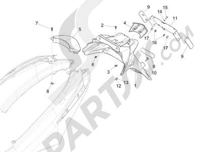 Piaggio Fly 150 4T 3V ie (USA) 2013-2015 Cubierta trasera - Salpicador