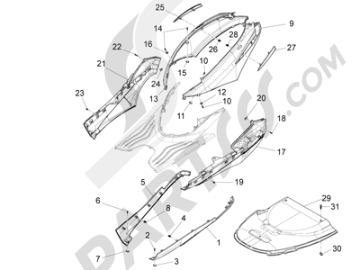 Piaggio Fly 150 4T 3V ie (USA) 2013-2015 Cubiertas laterales - Spoiler