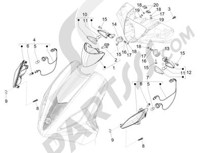 Piaggio Fly 150 4T 3V ie (USA) 2013-2015 Faros delanteros - Indicadores de dirección