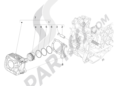 Piaggio Fly 150 4T 3V ie (USA) 2013-2015 Grupo cilindro-pistón-eje