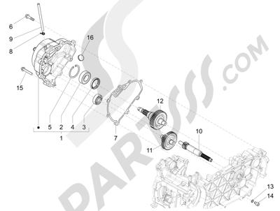 Piaggio Fly 150 4T 3V ie (USA) 2013-2015 Grupo reductor