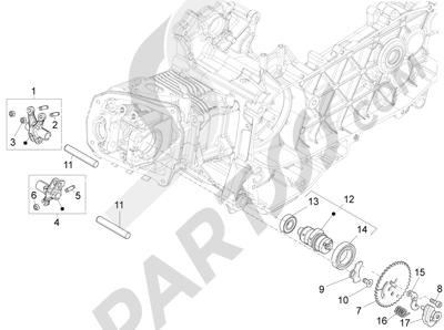 Piaggio Fly 150 4T 3V ie (USA) 2013-2015 Grupo soporte balancines