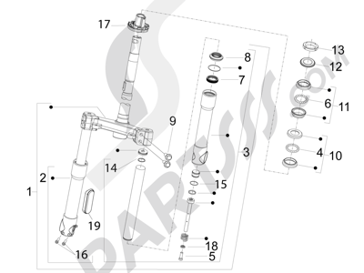 Piaggio Fly 150 4T 3V ie (USA) 2013-2015 Horquilla Tubo direccion - Conjunto tejuelos